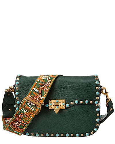 Rue La La — Valentino Rolling Rockstud Guitar Strap Leather Shoulder Bag