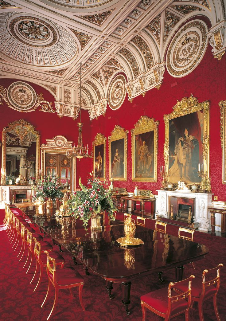 The State Dining Room, Buckingham Palace.  When visiting the formal rooms of Buckingham Palace, always look up.  The magnificent ceilings by Nash are probably the best features of the Palace.