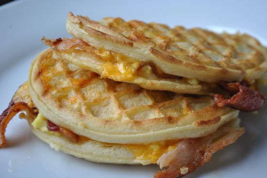 This breakfast sandwich uses a panini press to sandwich eggs, bacon and cheese between two toaster waffles. It's a fun and easy breakfast for kids!