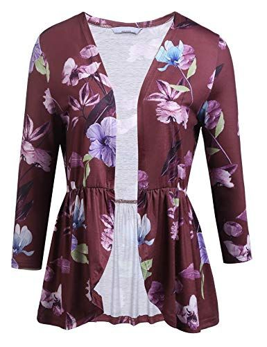 d3bb5b09a4f55b Yayado Stylish Printed Cropped Cardigan Sweaters for Women Plus Size Wine  Red XXL