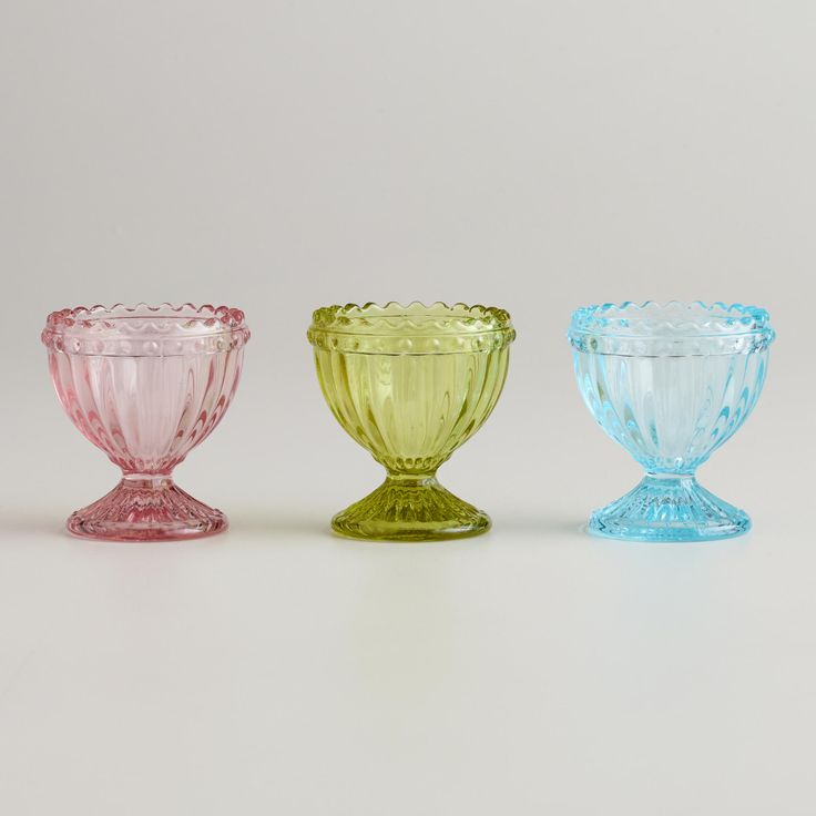 Fluted Glass Egg Cup Set of 3  Decor  Vintage egg cups