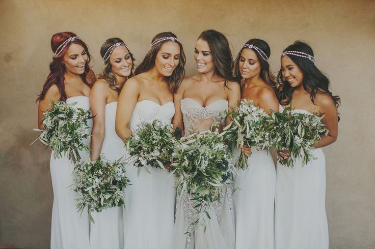 Bride + Bridesmaids Bouquets by Blush floral stylist. blush.co.nz Lavender Hill Waiheke Island Auckland Wedding. Danelle Bohane photography