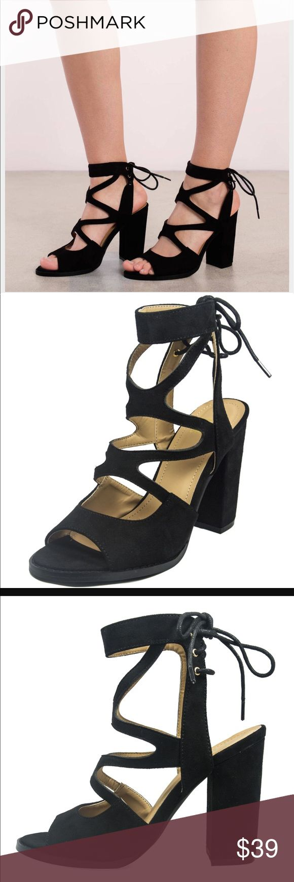 """Black strapped Suede lace up chunky heel 4"""" heel Shoes Heels"""