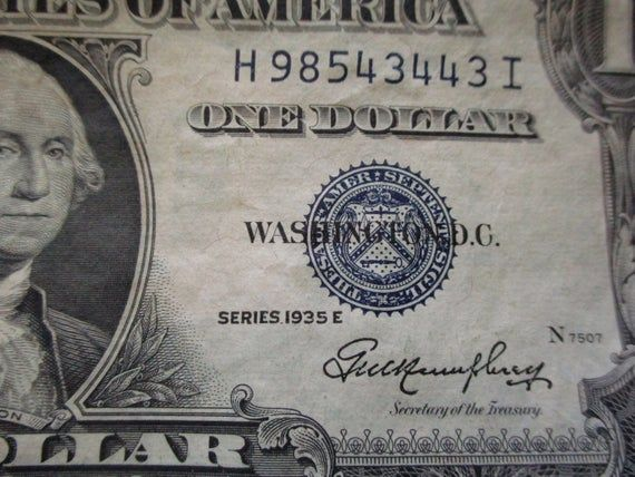 1935 E silver certificate, one dollar bill, currency, 30s vintage money, 1 dollar bill