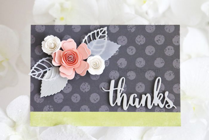 mftstamps Die-namics Layered Leaves Mini Royal Roses Mini Hybrid Heirloom Rose Thanks & Hello