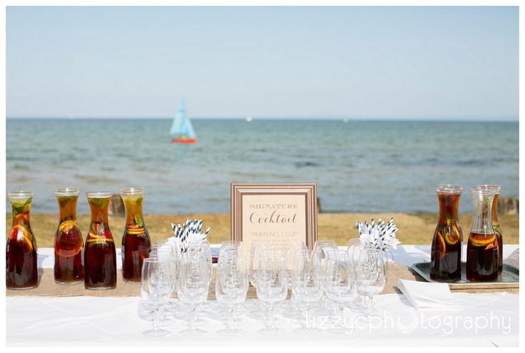 Pimms cocktails by the sea  www.lizzyc.com.au  St Leonards wedding, Victoria, Australia