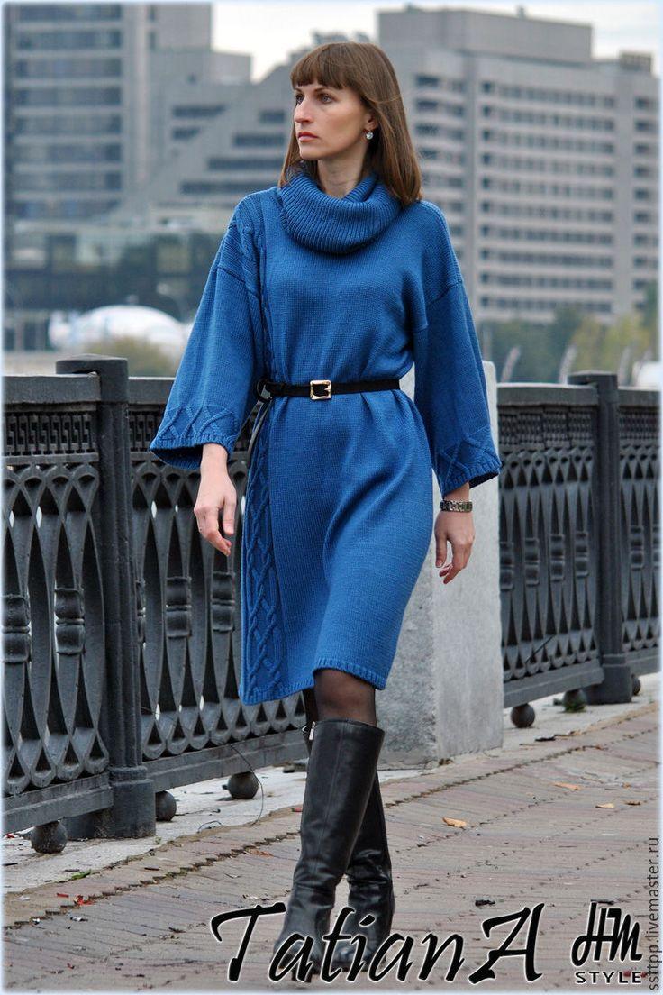 """Купить Вязаное платье-балахон """"Comfort"""" - комбинированный, платье, вязаное платье, платье вязаное"""