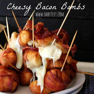 Bacon Bombs, I'll be using turkey bacon and baking these. ;)
