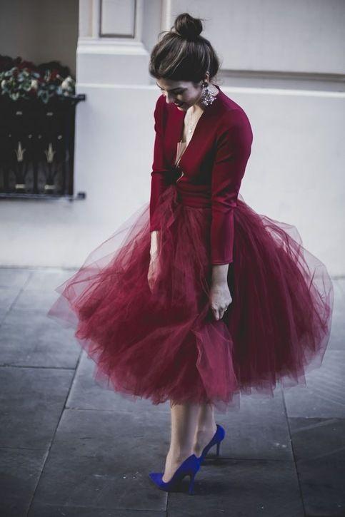 Burgundy TuTu Tulle Skirt for Women from dressydances – Susanne Hansen
