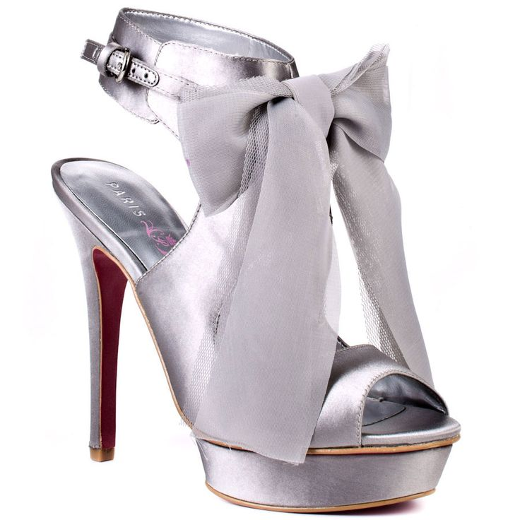 Silver bow shoes