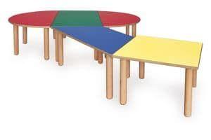 ITALIA COLLECTION, Tavolino componibile per bambini, realizzato in legno, vari colori, per scuole e asili