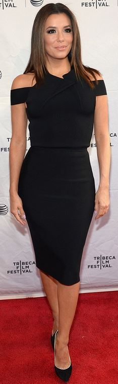 Who made Eva Longoria's black suede pumps and cut out pleated dress?