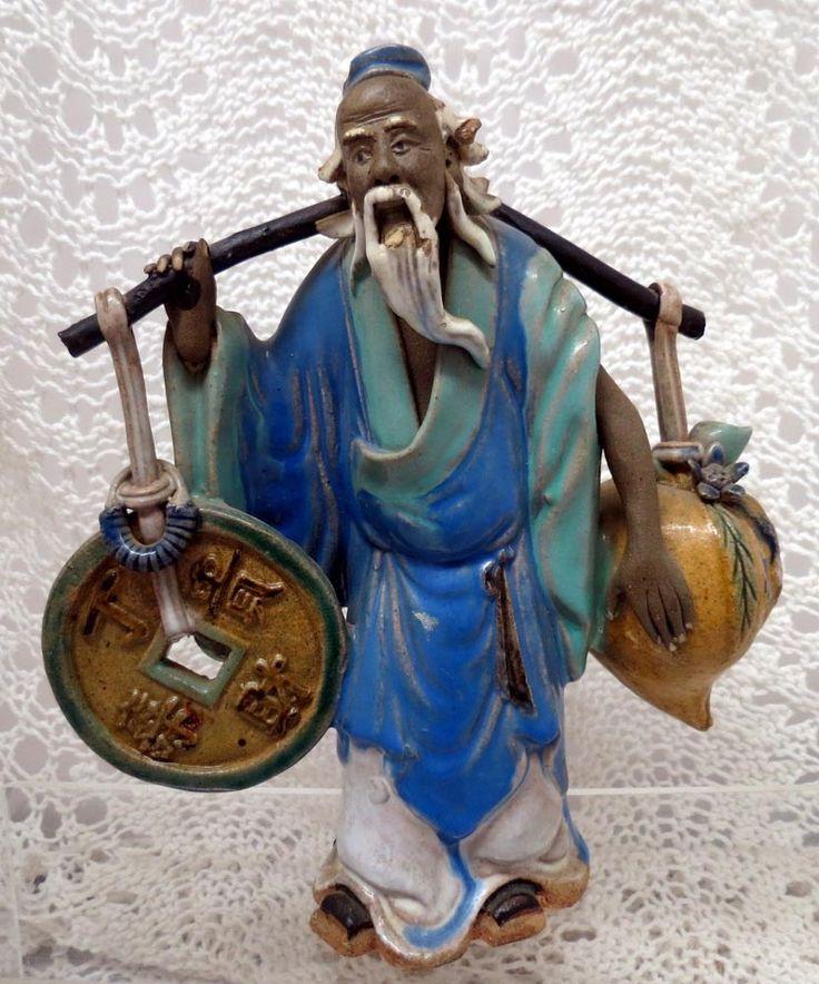 Chinese Mud Man Yoke Bearer with Coin & Peach