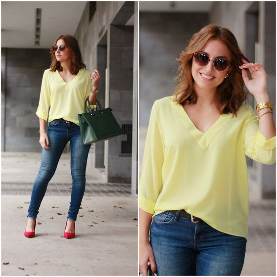 Get this look: http://lb.nu/look/7836140  More looks by Carolina González Toledo: http://lb.nu/carolinatoledo  Items in this look:  Stradivarius Sunglasses, Primark Blouse, Mango Bag, Zara Jeans, Primark Heels   #chic #elegant #formal #ootd #look #outfit #heels #red #yellow