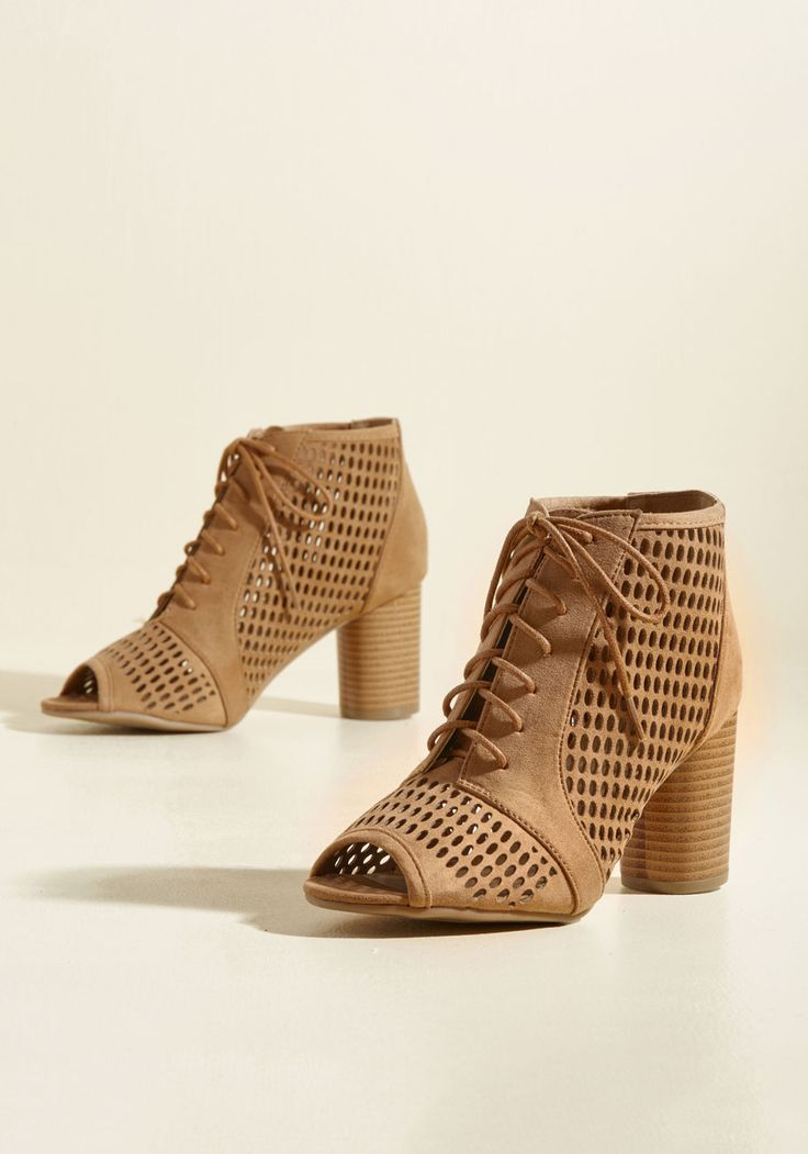 Eclectic Perspective Heel in Fawn. These faux-suede heels are the perfect representation of your assorted style influences! #tan #modcloth