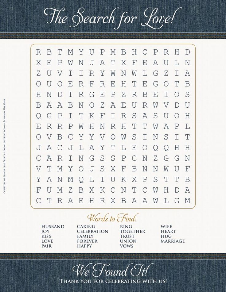 Free wedding printable! The Search for Love word search game. Features ...