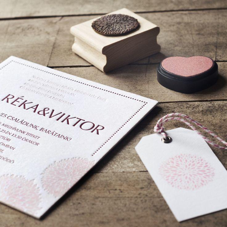 Letterpress invitation card and stamp