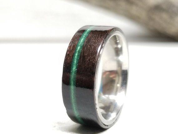 Ebony Wedding Band Emerald Inlay Custom Wood Ring Mens Etsy Custom Wood Rings Rings For Men Wood Rings