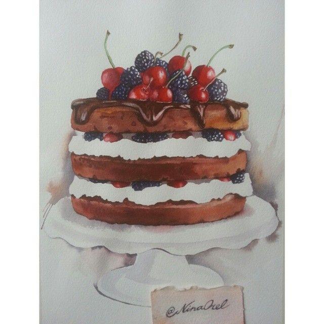 Очередной голый тортик) #watercolour #watercolor #illustration #foodillustration #painting #paint #grafic #myart #sketch #sketchbook #drawing #draw #dessert #cake #акварель #графика #иллюстрация #торт #рисунок