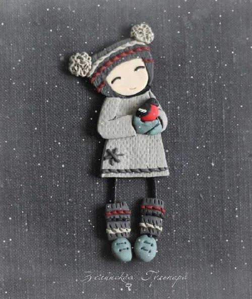 Girl Barbara. Unique collectible brooch. Made of polymer clay in the author's technique of patchwork modeling