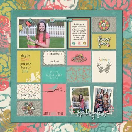 Spring digital scrapbook layout featuring the Let's Talk Spring collection by Mye De Leon available at www.snapclicksupply.com #digitalscrapbooking