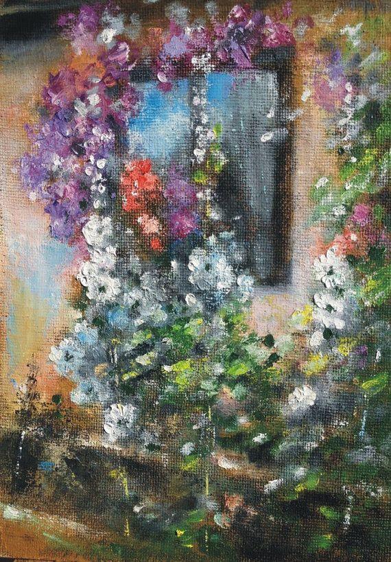"At the window 2 - original oil painting 11"" x 8.6"" (28 cm x 22 cm)"