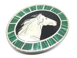JOHNSON AND HELD HANDCRAFTED STALLION BELT BUCKLE WITH INLAY MALACHITE TILES. Online Auction closing on Sunday June 11th at 5:07 PM PST  #CalAuctions #CalEstateSales #SanDiegoAuctions #AuctionsinSanDiego #AuctionEvents #EstateAuctions #EstateAuction #Auction #BenefitAuction #OnlineAuction