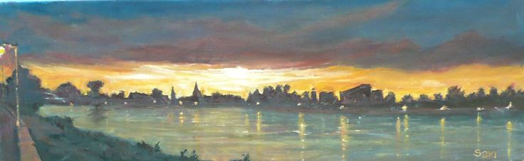 Tiszapart Tisza riverside   Tisa   60 x 20 cm oil on canvas