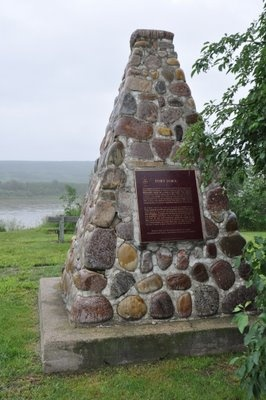 The Fort Fork cairn, Peace River Alberta  It reads: The remains across the river are those of Fort Fork, built by the north West Company in 1792 as a western base for the Alexander Mackenzie's search for a route to the Pacific. The explorer wintered here before setting out in May 1793, on his historic journey to the Pacific.