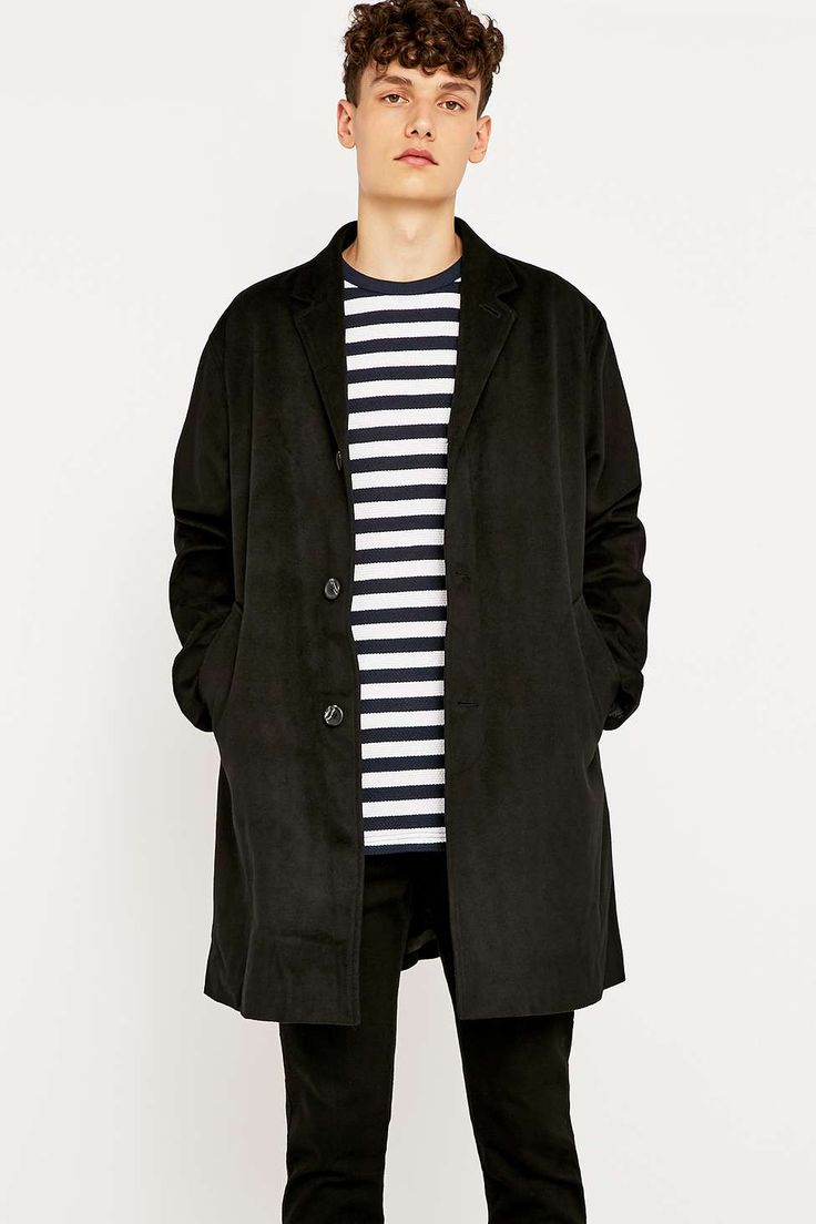 Shore Leave by Urban Outfitters Lucifer Classic Black Overcoat