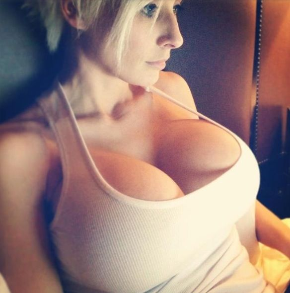 Tanktop Nobra Huge Round Boobs Fake Breast Hard Tits Cleavage Blonde Amateur White  Tanktop  Pinterest  Blondes-7472