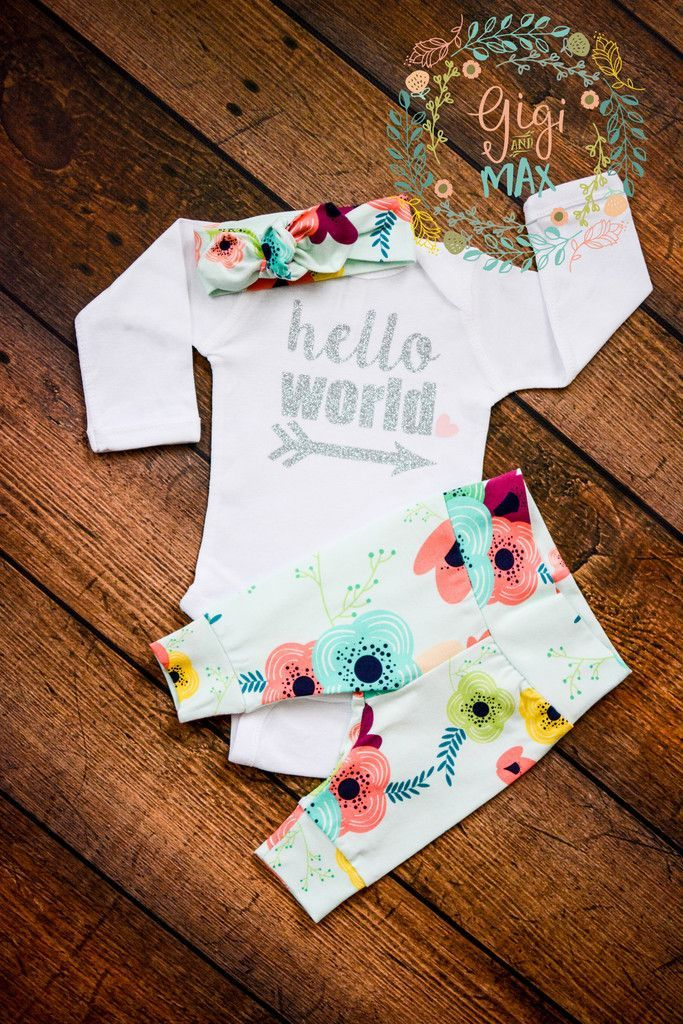 Hi there! Welcome to Gigi and Max! This handmade outfit is beyond perfect for any sweet baby on the way. Pants and headband are made out of a super soft stretchy organic knit. The onesie is profession