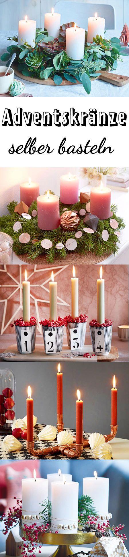 Erst eins, dann zwei, dann drei, dann vier ... #adventskranz #basteln #weihnachten
