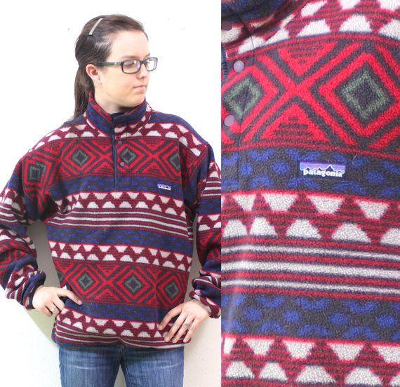 Vintage Retro Patagonia Aztec Boho Navajo Patterned Fleece