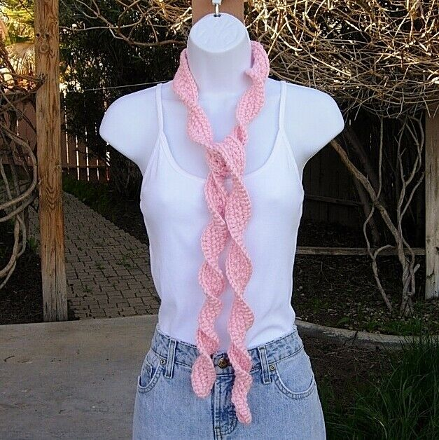 Women/'s Olive Green 100/% Cotton Summer Scarf Skinny Small Spiral Crochet Knit
