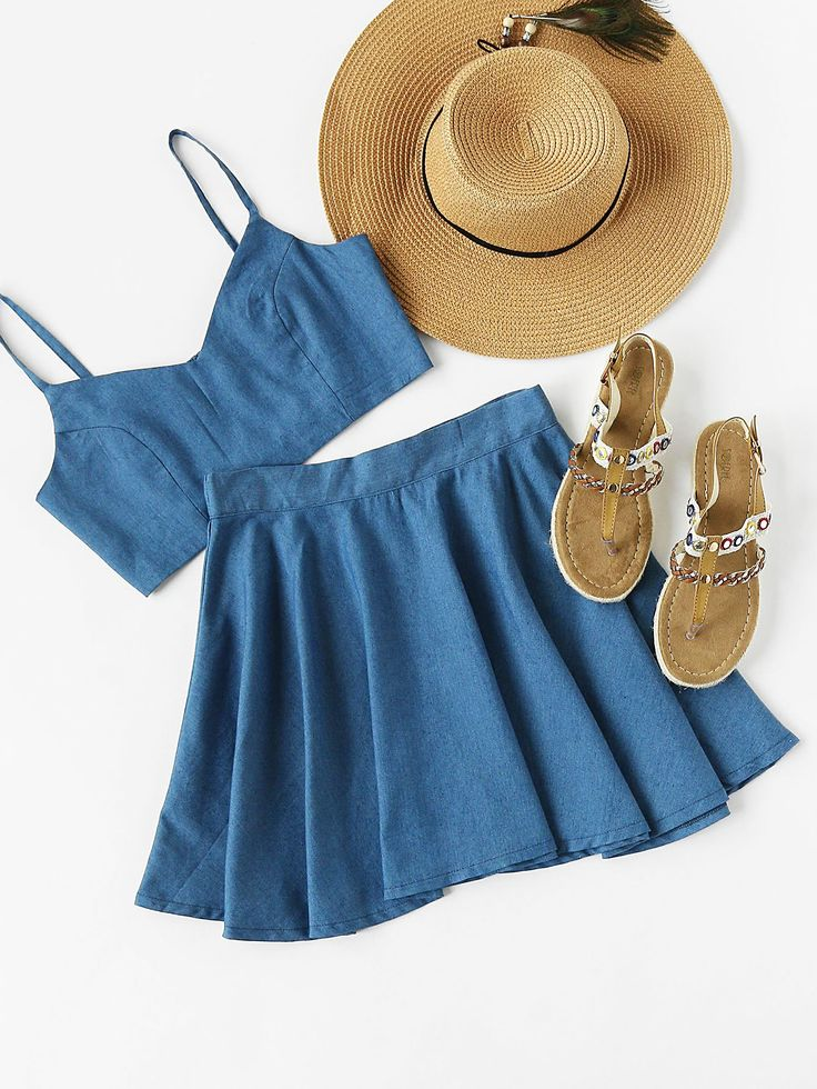 Shop Crop Chambray Cami Top And Skirt Set online. SheIn offers Crop Chambray Cami Top And Skirt Set & more to fit your fashionable needs.