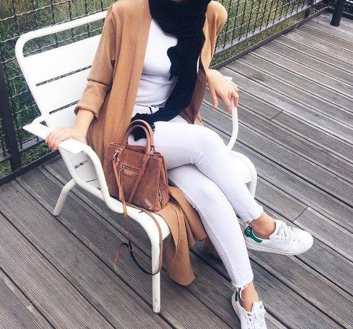 white-hijab-with-tan-long-cardigan- Beautiful hijab outfits…