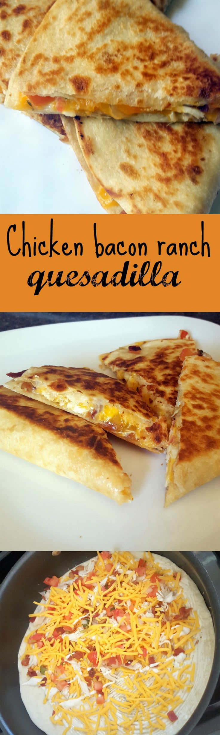 Chicken bacon ranch quesadilla - A crispy quesadilla filled with chicken, bacon and ranch. With the added kick of jalapenos and pico de gallo. More