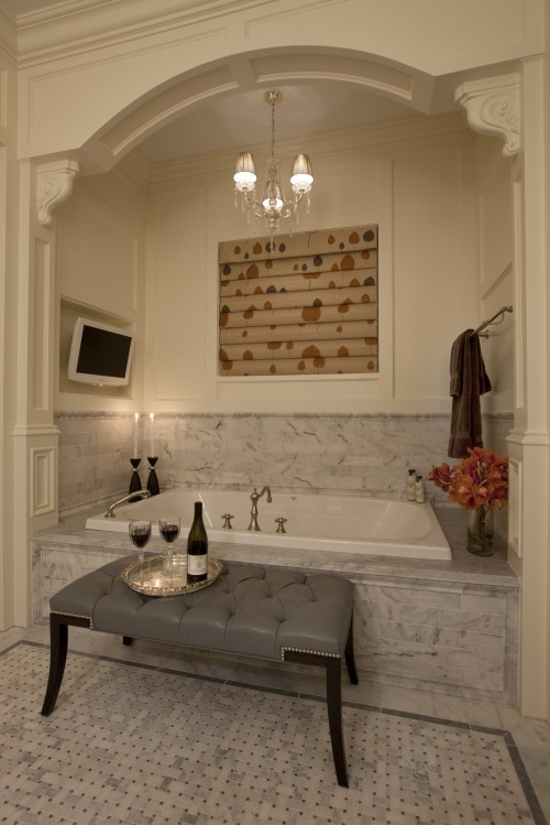 Love the tub nook. I much prefer the idea of being cocooned and swaddled in a warm bath than being smack in the middle of the floor with cold air rushing all around me in a standalone tub.: Bathroom Design, Dreams, Masterbath, Bathtubs, Bathroomdesign, Master Bath, Traditional Bathroom, Bubbles Bath, Bathroom Ideas