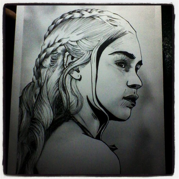 Daenerys Targaryen - Emilia Clarke. #ilustración #dibujo #draw #art #arte #sketch #retratos #gameofthrones #juego de tronos #emiliaclarke #daenerystargaryen #peterdinklage #tyrionlannister