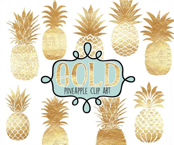 Pineapple Digital clip art, Gold foil pineapples, pineapple clipart, Instant download,Pineapples, faux gold foil metallic gold pineapple