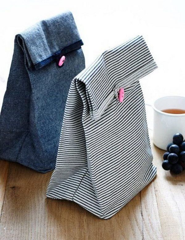 Sewing Button Lunch Bags