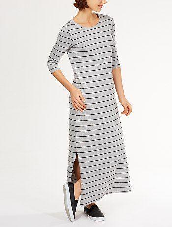 Vestido de punto largo de tubo con manga 3/4                                                                 gris oscuro Mujer  - Kiabi