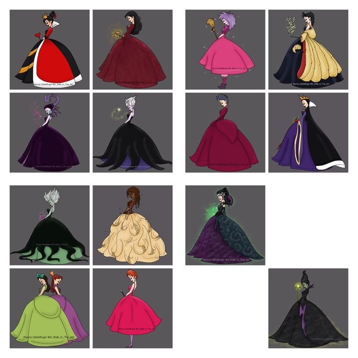 Some Disney Villains in the same style as I posted earlier of the Disney Princesses! It was lots of fun creating these!