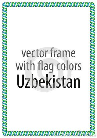 Frame and border of ribbon with the colors of the Uzbekistan flag.