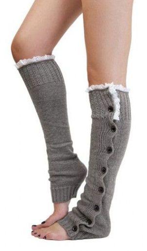 Grey Button Down Leg Warmers <3