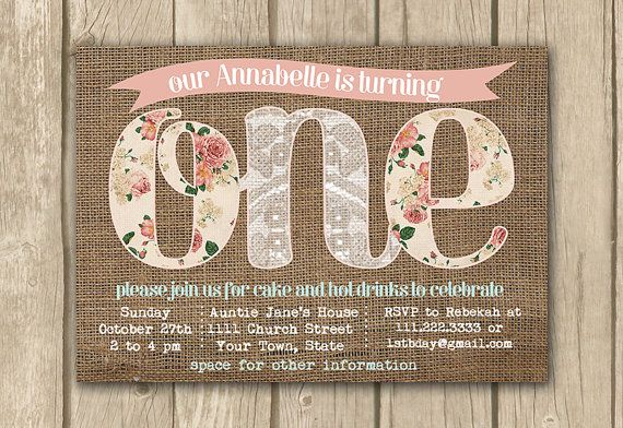 printable 1st first birthday invite, baby girl invitation, burlap lace invite, burlap lace floral, child birthday, proof in 2 business days on Etsy, $16.50
