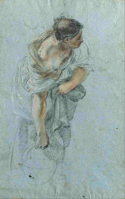 Guillaume Courtois  Young woman carrying a pot  1645  drawing, colored chalks, blue paper  Museum Kunstpalast, Düsseldorf