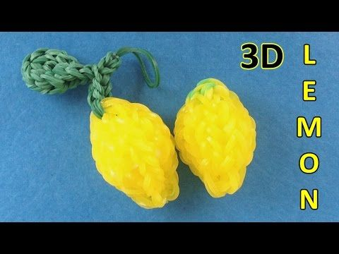 Rainbow Loom: 3D Lemon Charm || How to make charms with loom bands Instr...