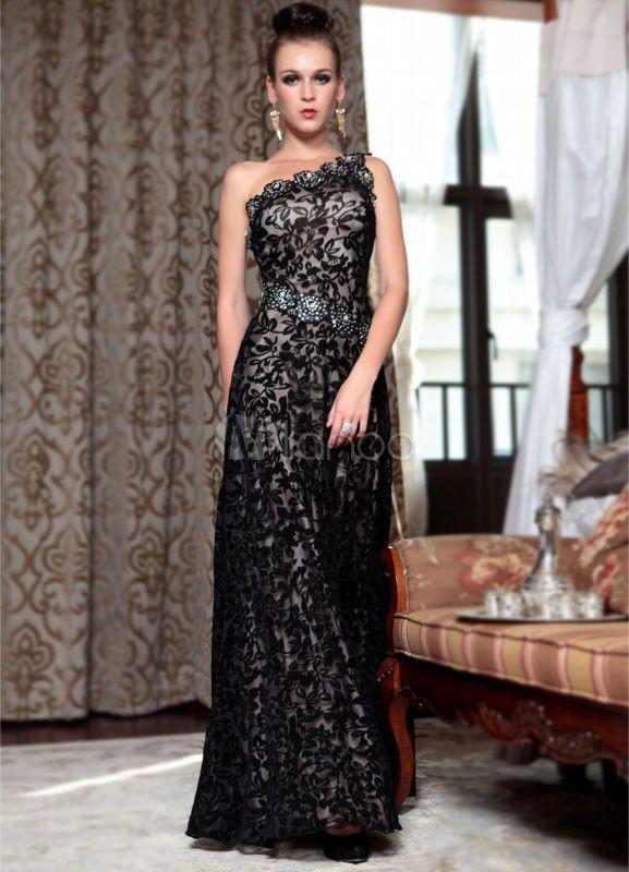 Black One-Shoulder A-line Beading Satin Evening Dress - Milanoo.com